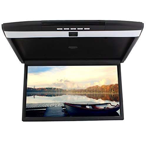 17 inch Widescreen LCD Monitor High Resolution Roof Mount Car Flip Drop Down Overhead Support HDMI FM transmit SD/USB Input