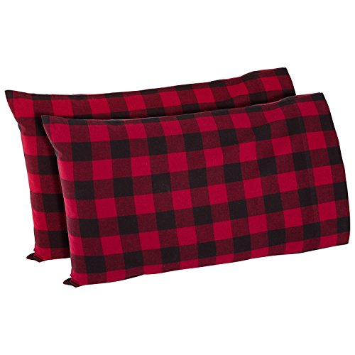 Stone & Beam Rustic Buffalo Check Flannel Yarn-Dyed Pillowcase Set, Standard, Red and Black