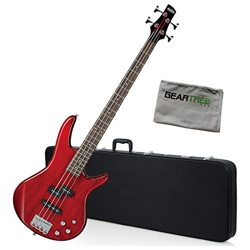 - Ibanez GSR200TR Gio SR Bass Guitar Transparent Red w/Hard Case and Polish Cloth