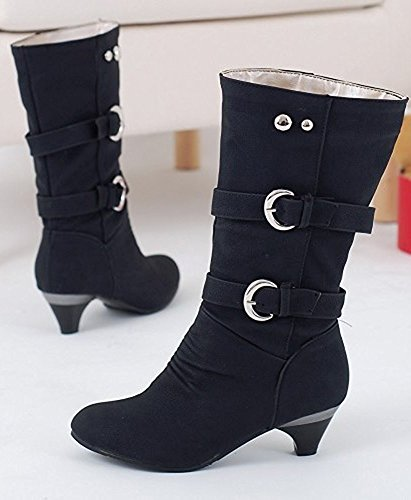 Maybest Mujeres Otoño Invierno Elegante Botas Altas Estiramiento Bloque Mid High Heel Button Ladies Zapatos Negro