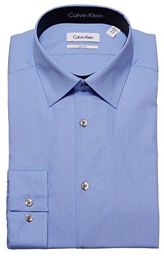 Calvin Klein Tone/Tone Stripe Slim Fit 100% Cotton Solid Dress Shirt - 33T046 (17 34-35, Light Blue)