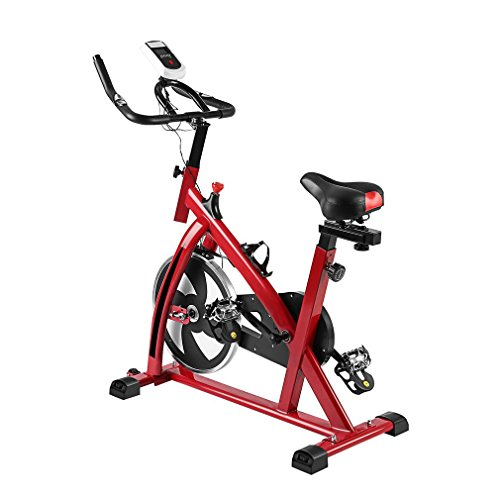 Civigrape Upgrade Indoor Exercise bike, Height Adjustable Indoor Cycle Bike with LCD Monitor, Heart Pulse Sensors (Red) ()