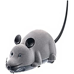 Tinksky Electronic Remote Control Rat Plush Mouse Toy for Cat Dog Kid(Grey)