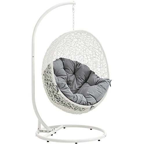 Modway EEI-2273-WHI-GRY Hide Wicker Rattan Outdoor Patio Balcony Porch Lounge Egg Swing Chair Set with Stand White Gray