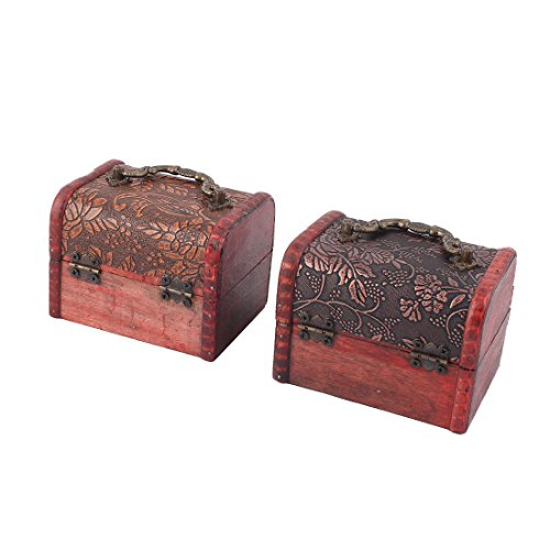 uxcell Wood Flower Pattern Family Ring Jewelry Candy Box Case Organizer 2 Pcs Dark Red by uxcell (Image #3)