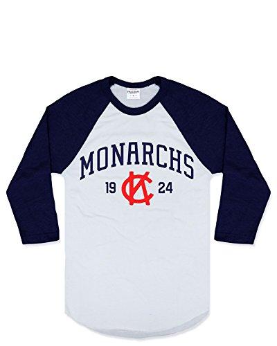Charlie Hustle Unisex Negro League Kansas City Monarchs Raglan M White/Navy