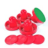 Lemon home Red Air Hockey Pushers and Red Air Hockey Pucks (4 Striker, 4 Puck Pack)