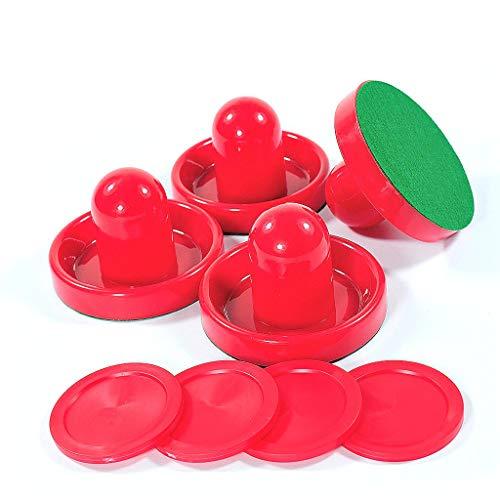 Lemon home Red Air Hockey Pushers and Red Air Hockey Pucks (4 Striker, 4 Puck Pack)