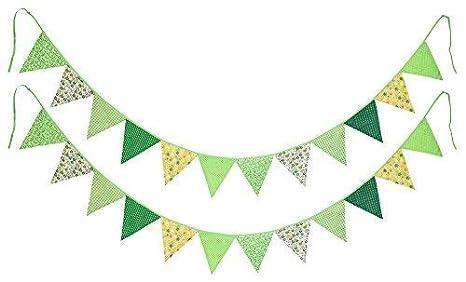 FiveSeasonStuff 2 Piezas Doble Cara Algodón Tela Empavesado / Verderón, Banderas del Triángulo Banderines Guirnaldas