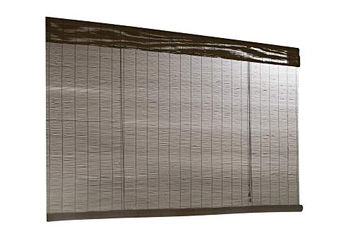 Style Selections Fruitwood Light Filtering Indoor/Outdoor Bamboo Roll-Up Roller Shade 48in x72in ()
