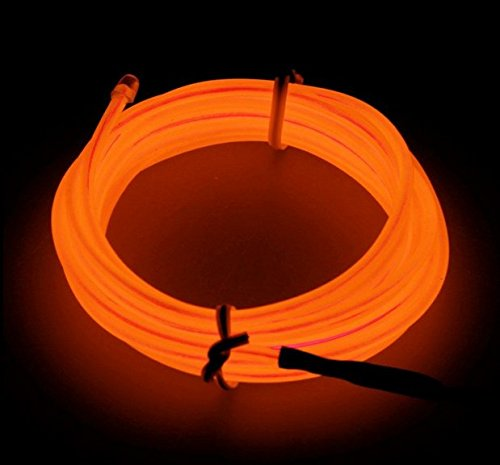 Amicc El Wire 3m 9ft Orange Neon Light Neon Glowing Strobing Electroluminescent Wire for Burning Man Cosplay Dress Halloween Christmas Party Decoration