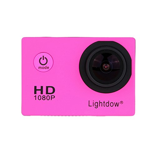 Lightdow LD4000 1080P HD Sports Action Camera Bundle with DSP:NT96650 Chip, 1.5-Inch LPS-TFT LCD, 170° Wide Angle Lens and Bonus Battery (Pink) Action Cameras ZLY Technology