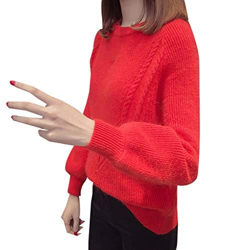 Top maglione Bodbii Pullover autunno Collo Donne base maglia a O lavorato Red316 camicetta dal solida Bright p1nASp