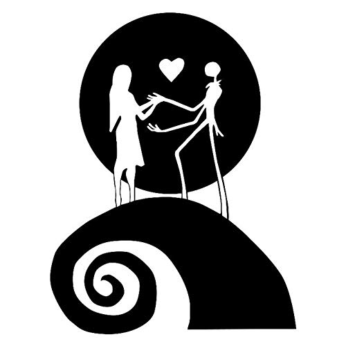 (Scrapbooking Stickers & Sticker Machines, Vinyl Decal Sticker, 1PC 13cmx17cm Jack And Sally Moon Nightmare Fashion Car Sticker Car Decal Stickers- Black)