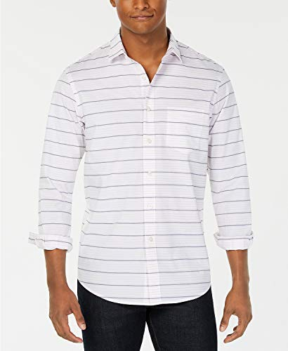 Club Room Men's Horizontal Stripe Shirt White 2XL Club Room White Dress Shirt