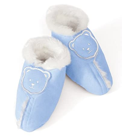Discontinued by Manufacturer Blue Kiddopotamus Faux Suede Sherpa Booties Medium 6-12 Months