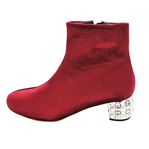 pais Rouge Velours D'hiver 36 La Rugueux Ct Le Avec Arrondie De Bottes Femme Confortables Corps Sur Tte Au Perle Fermeture En Glissire zqXwxR1EnF