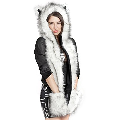 Faux Fur Animal Hoods With Attached Paws (FakeFace 3 in 1 Unisex Men Women Girls Faux Rabbit Fur Cartoon Animal Fox Ears Hood Hoodie Earflap Hat Long Scarf Snood Wraps Winter Warm Paws Mittens with Pocket)