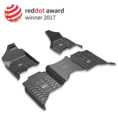 (3W Floor Mats for Dodge Ram (2013-2018) - Full Set All Weather Ram 1500/2500/3500 Crew Cab Floor Mats Liners with Non-Toxic TPE 1st & 2nd Row seat Carpet Mats (Not)
