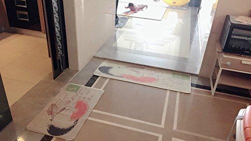 Non-Slip Kitchen Mat Rug Polyester Kitchen Floor Mat Doormat fiber with Rubber Backed Mat Slip Rug 18'' x 47.2'' +18'' x 30'' (Watermelon)