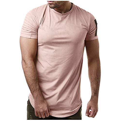 (Mens Solid Color Pleat Shoulder T-Shirt Sport Fitness Short Sleeve Tops Side Zipper Crewneck Basic Tee by Leegor)