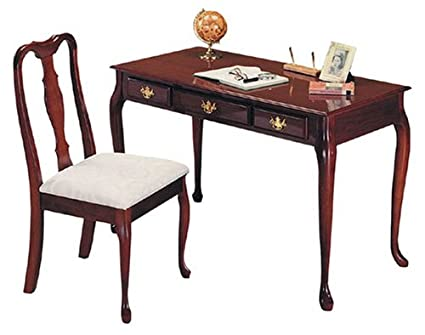 Shop Queen Anne Desk Chair Set Free Shipping Today >> Cherry Finish Queen Anne Writing Desk With Chair
