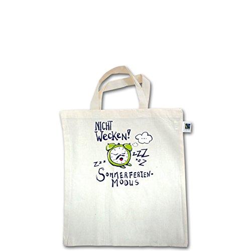 Up to Date Kind - Sommerferienmodus - Unisize - Natural - XT500 - Fairtrade Henkeltasche / Jutebeutel mit kurzen Henkeln aus Bio-Baumwolle