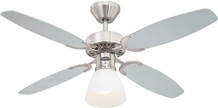 78274 Ventilatore da soffitto in acciaio spazzolato per interni Capitol 105 cm kit di luce con vetro smerigliato opale
