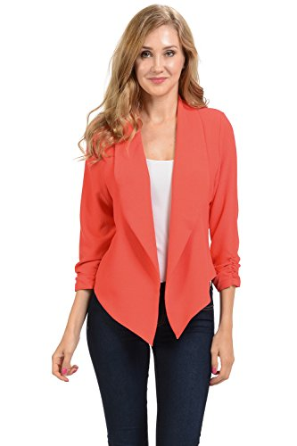 Fitted Blazer Tweed - Auliné Collection Womens 3/4 Sleeve Casual Work Lined Open Front Cardigan Blazer Coral Medium