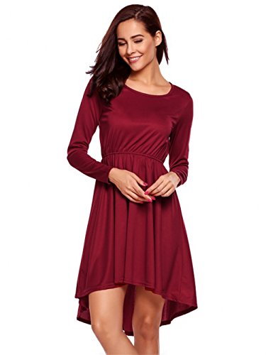 Loose Red Sleeve Women's Dress Dress Long Aurora Bridal O Casual Neck S8qFxw