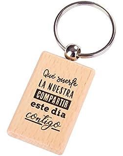 Llavero de Madera con Frases Suerte LA Nuestra - Llaveros ...