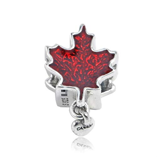 (Pukido 925 Sterling Silver New DIY Beads Accessories Enamel Red Maple Leaf Jewelry Fits Pandora Style Charm Bracelets & Necklaces)