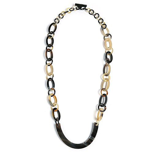 Bling Jewelry Earth Tone Brown Handmade Natural Statement Boho Fashion Buffalo Horn Oval Chain Link Necklace for Women