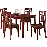 ACME Sonata 5 Piece Dining Set, Cherry and Chocolate