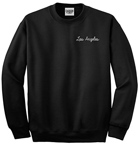 FASHIONISGREAT Los Angeles LA Script Chest Crewneck Sweatshirt Black X-Large