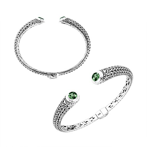 Sterling Silver Bangle with Green Quartz -