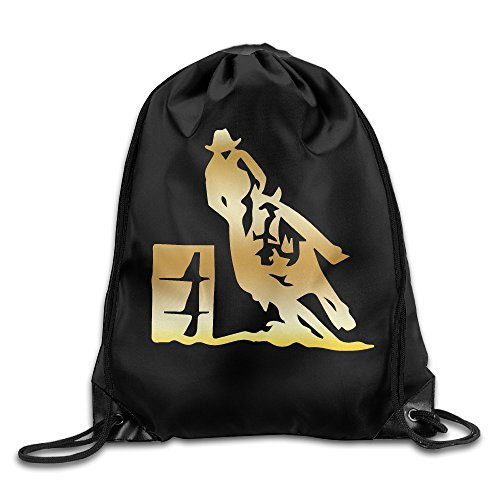 BYDHX Barrel Racer Racing Rodeo Gold Logo Drawstring Backpack Bag -