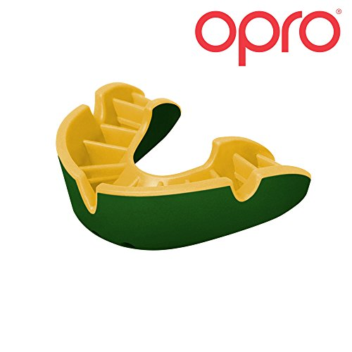OPRO Silver Level Mouthguard | Gum Shield for Rugby, Hockey, Wrestling, and Other Combat and Contact Sports – 18 Month Dental Warranty (Adult, Green/Gold)