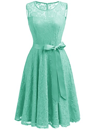 Dressystar 0009 Floral Lace Dress Short Bridesmaid Dresses with Sheer Neckline L Mint