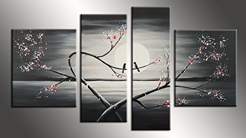JOJOIL Art Hand Painted Canvas Wall Decor Artwork of Birds on Tree 4 Piece Black and White Painting Art for Bedroom Decoration (Halloween Desktop Backgrounds Hd)