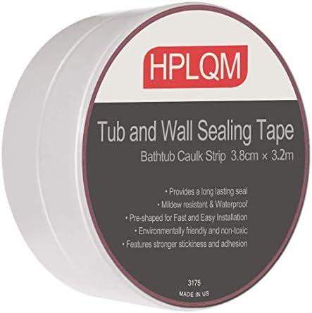 Caulk Strip, PVC Sealing Tape, Self Adhesive Caulking Roll, Waterproof Wall Sealant, 1-1/2″ x 11′, Flexible Peel and Stick Caulking Tape for Wall Corner, Sink, Toilet, Bathtub, Kitchen (White)