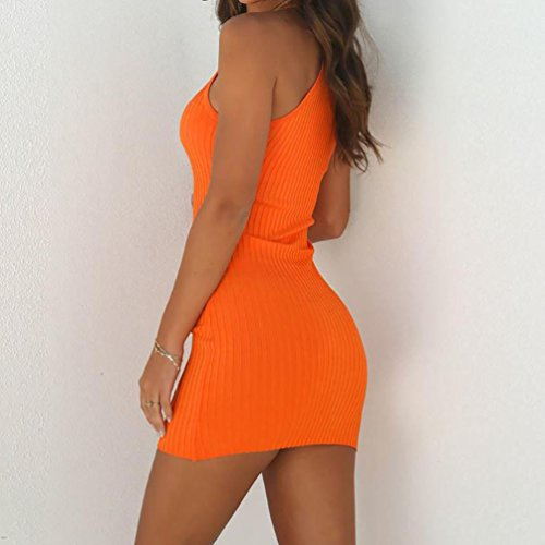 Robe Mini Femme de sans Manches Braderie Sexy Moulante Robe Robe Dress Solide Robe EUZeo pour Orange fte d't 1R5wf