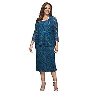 8df7bd9d875 Alex Evenings Women s Plus Size Tea Length Lace Dress and Jacket
