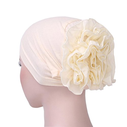 Women Head Wrap,Matoen Flower Muslim Ruffle Cancer Chemo Hat Beanie Scarf Turban Cap (Beige)