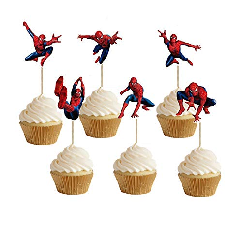 ELSANI 48pcs Spiderman Cupcake Toppers for Birthday Party Cake Decoration Supplies