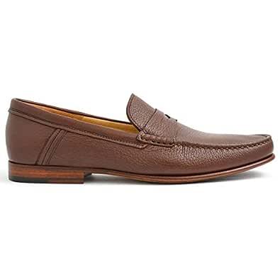 LUCAGUERRINI Chic Brown Leather Men Moccasins