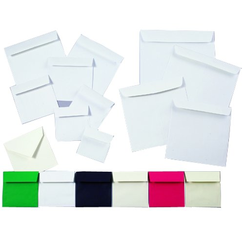 JAM Paper 5.5'' x 5.5'' Square Invitation Envelope - White Semi Gloss - 100/pack
