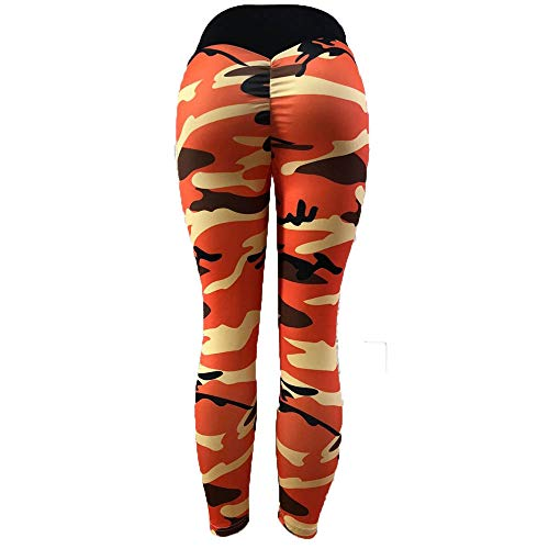 Womens Camo Ruched Butt Lifting Leggings Tights High Waisted Workout Sport Gym Active Yoga Pants (S, Orange) ()