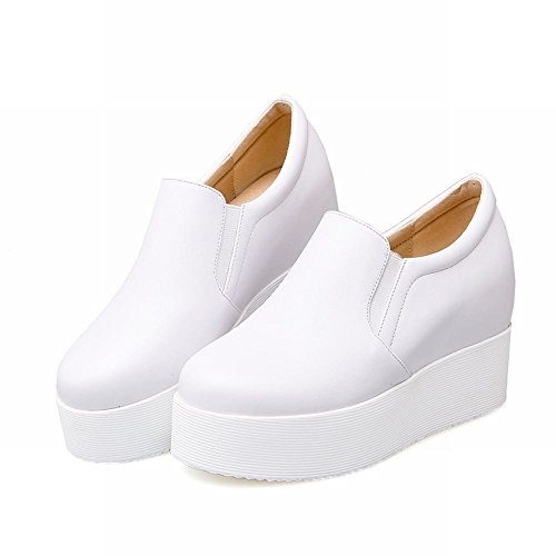 Mee Shoes Damen hidden heels runde Plateau Pumps Weiß