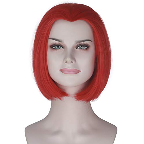 Girl's Short Straight Hot Red Wig Bob Style Punk Lolita Cosplay Costume Wig -